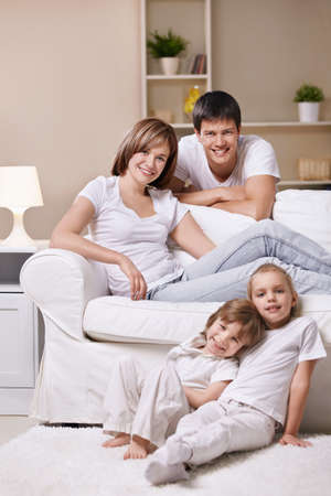 family living: Families with children at home Stock Photo