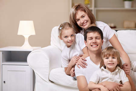 A happy family with children at home Stock Photo - 8969756