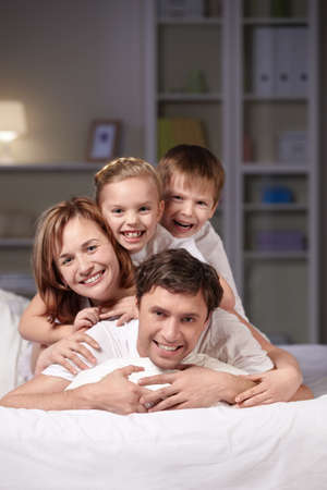Families with children in the evening photo