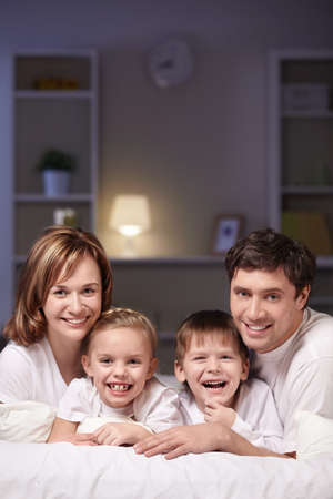 A happy family home evening photo