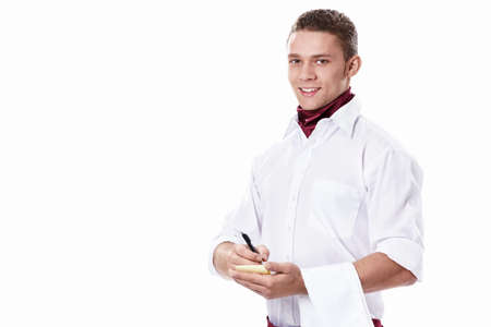 Attractive waiter on a white background photo