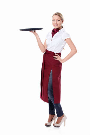20s waitress: Attractive waitress with a tray on a white background