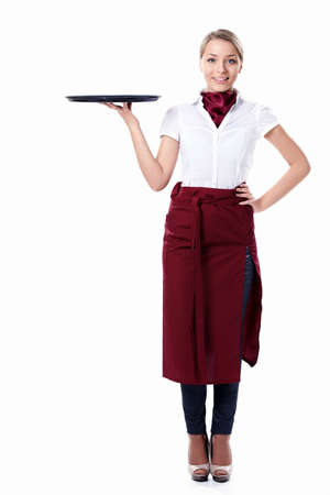 aprons: A young attractive waitress with a tray on a white background Stock Photo