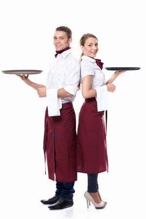 mesero: Dos camareros sobre un fondo blanco