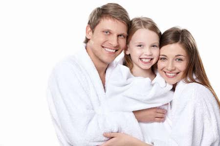 bathrobes: Familia con un ni�o en monos sobre un fondo blanco