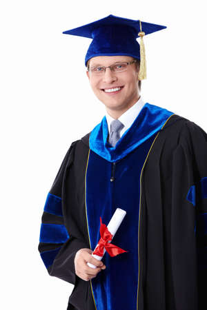 Young student with a diploma on white background photo