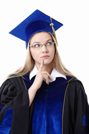 Thoughtful student on a white background photo