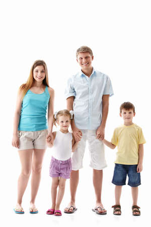 boy in shorts: A happy family with children on a white background