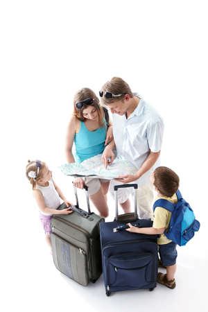 arriving: Family looking map on a white background Stock Photo