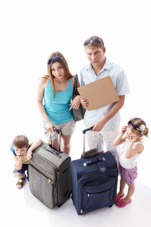 Weary families with children with an empty plate on a white background Stock Photo