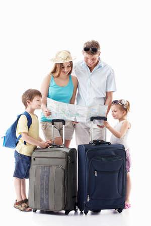 femme valise: Les familles avec enfants voir la carte sur un fond blanc Banque d'images