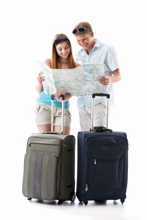 arriving: An attractive couple with their suitcases looking card is isolated