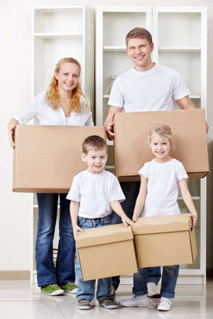 A family with two children bear box photo