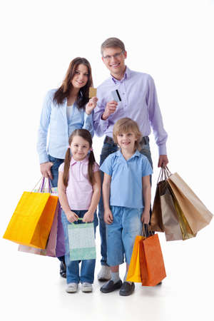 woman credit card: Families with credit cards and shopping on a white background