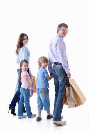 family walking: Families with children and bags on a white background