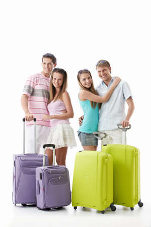 Girls and men with suitcases on a white background Stock Photo - 9527927