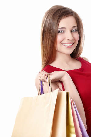 Young woman with shopping bags on white background Stock Photo - 9603061