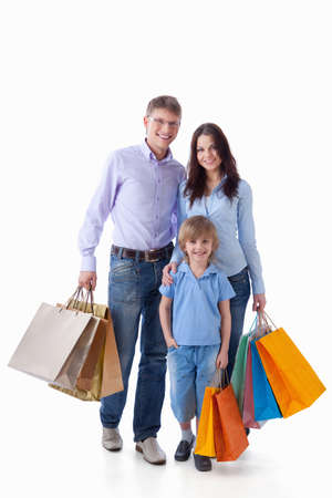 spending: A happy family with a child on a white background