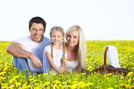 Family on a picnic in the lush field Stock Photo - 9695096
