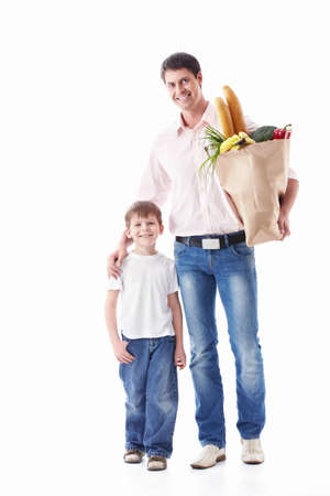 Dad and son with their purchases on a white background Stock Photo - 9794408