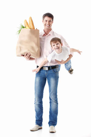 A father holding his son and the food package is isolated Stock Photo - 9794364