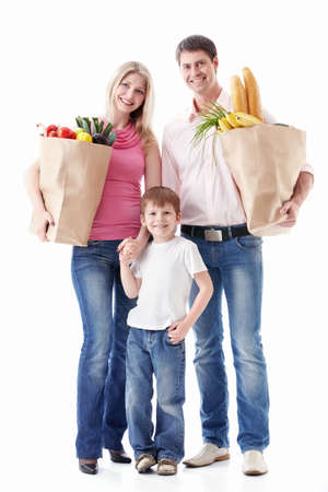 Happy family with food on a white background Stock Photo - 9794647
