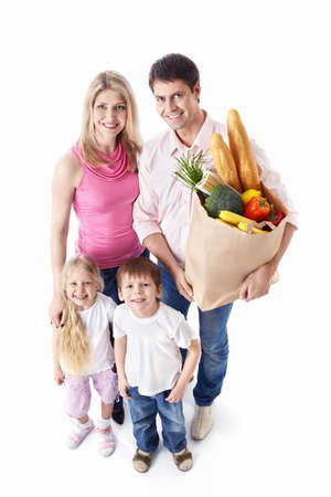 Happy family with food on a white background photo