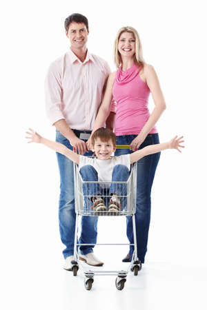 woman shopping cart: Family with cart on a white background