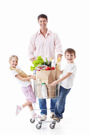 Family with cart on a white background Stock Photo - 9794532