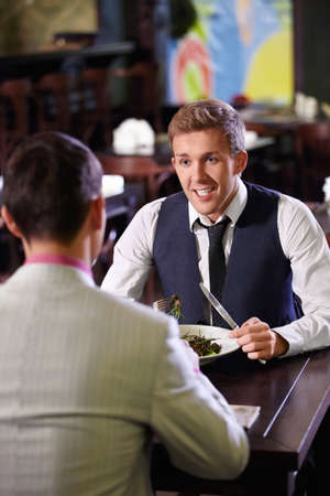 Young people have dinner at a restaurant Stock Photo - 9997029