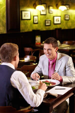 Young people have dinner at a restaurant Stock Photo - 9997035