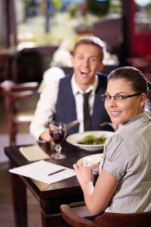 Young couple dining at restaurant photo