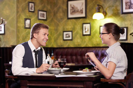 Young couple dining at restaurant Stock Photo - 9997033