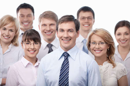head on shoulder: Smiling business people isolated Stock Photo