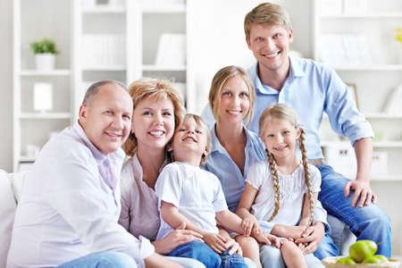 Happy big family at home photo