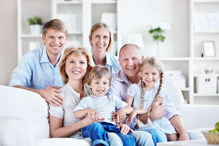 Happy big family home photo