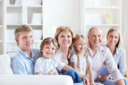 Happy big family with children at home photo