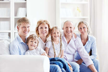A large family with children at home Stock Photo