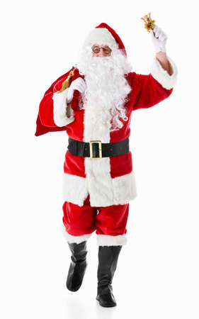 christmas costume: Santa Claus with a sack and a bell on a white background