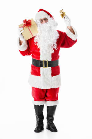 one senior man only: Santa Claus with a gift and a bell on a white background