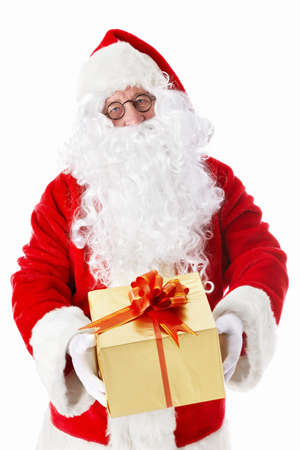 handed: Santa Claus handed a gift on a white background