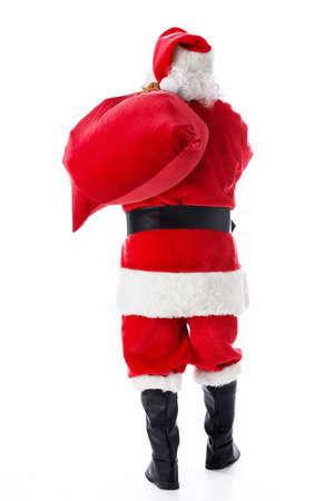 Santa Claus with a bag of isolated photo