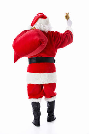 Santa Claus with a sack and a bell isolated
