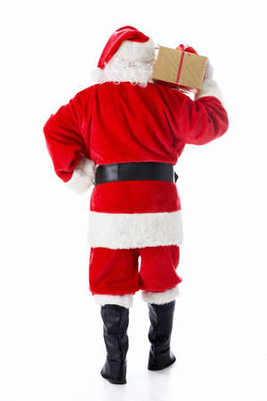 Santa Claus with a gift isolated