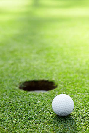 golf green: A golf ball at the hole