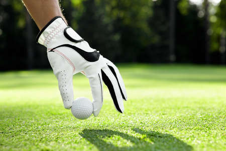 golf glove: Hand in glove puts the ball on the golf course