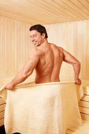 body temperature: Attractive man in the sauna