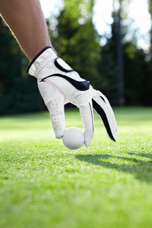 Hand in glove puts the golf ball on the field photo