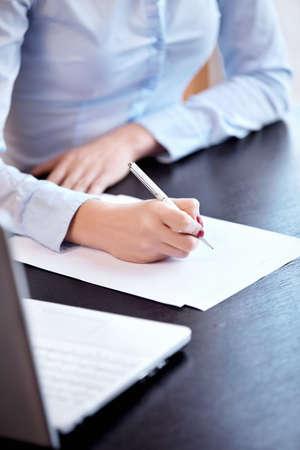 writing desk: Woman Stock Photo