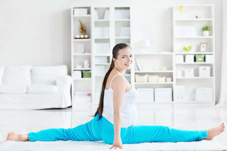 Young pregnant woman doing stretches Stock Photo - 12435254